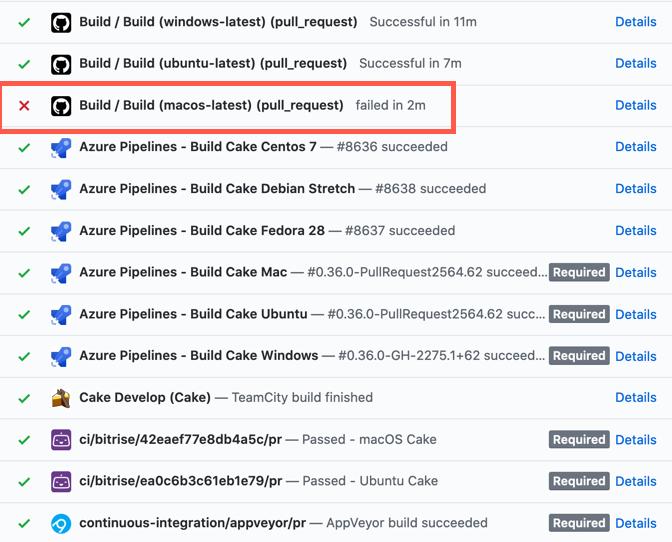 Failed MacOS build on GitHub PR