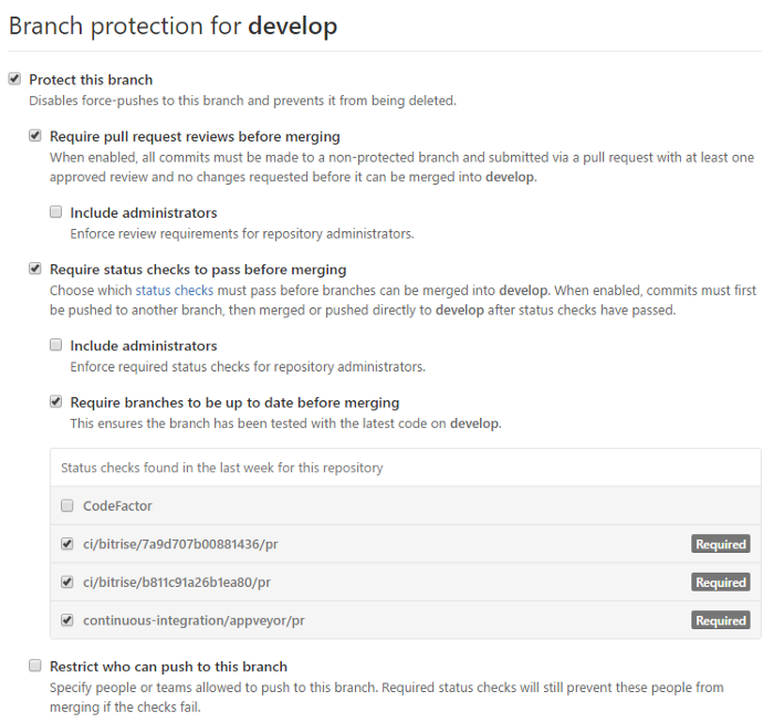 GitHub protected branches settings
