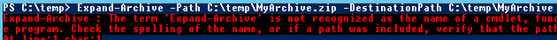Expand-Archive failes on previous versions of PowerShell