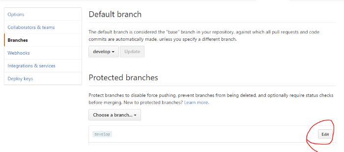 GitHub branches settings