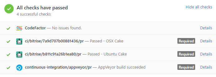 GitHub PR status checks