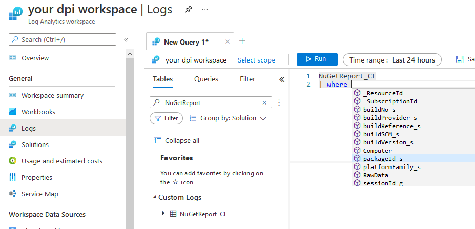 Azure Log Analytics Workspace General Logs NuGetReport_CL